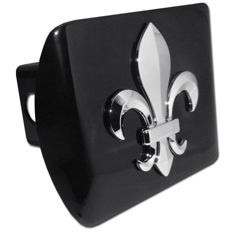 Fleur de Lis Chrome Metal Black Hitch Cover