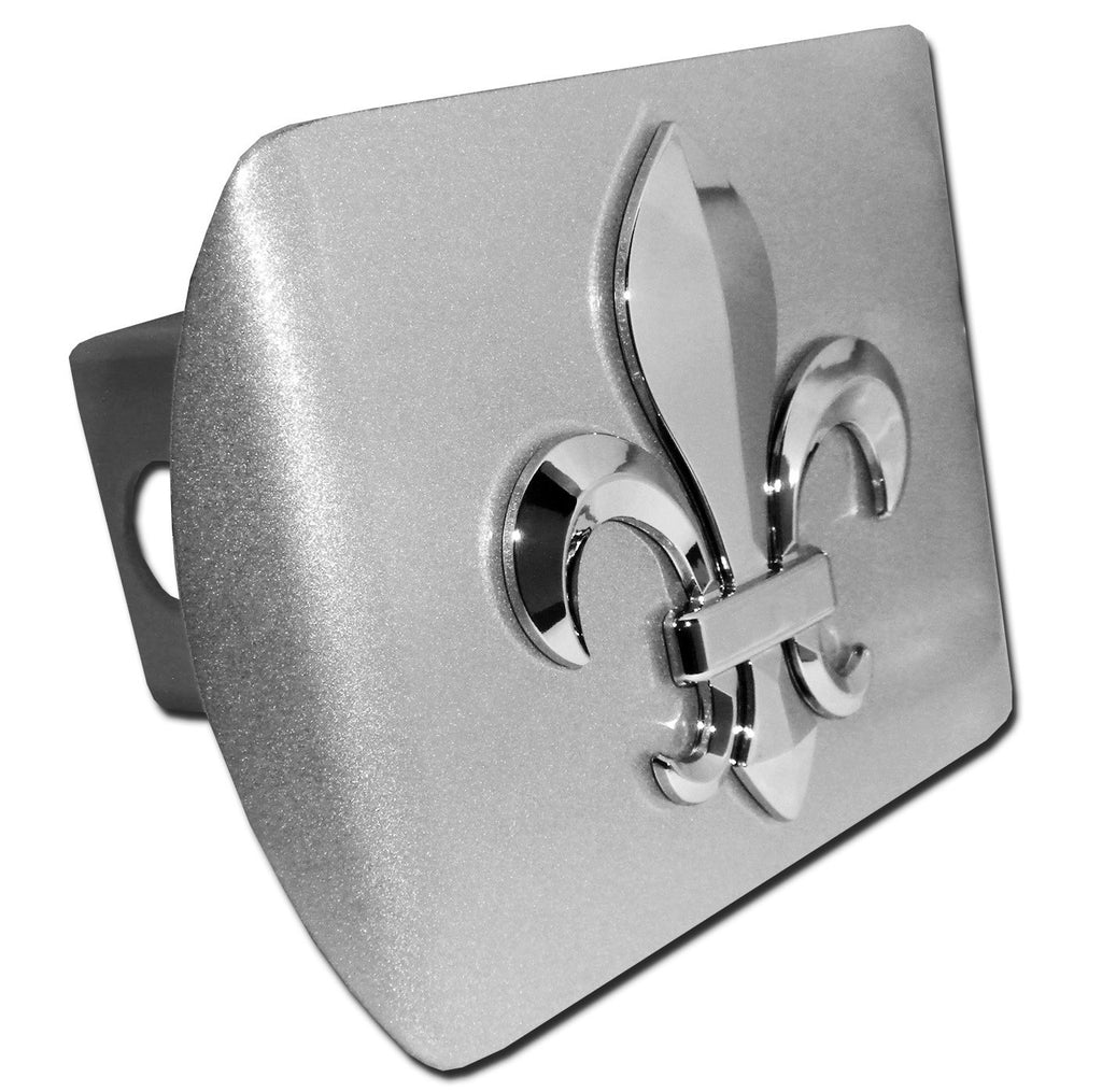Fleur de Lis Brushed Chrome Metal Hitch Cover