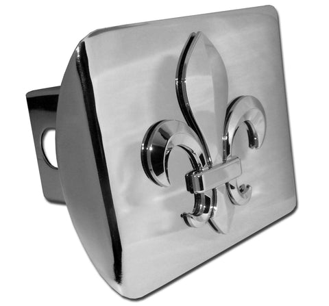 Fleur de Lis Shiny Chrome Metal Hitch Cover
