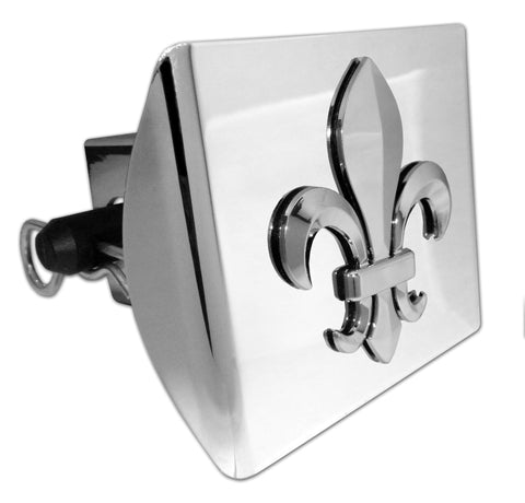 Fleur de Lis Shiny Chrome Plastic Hitch Cover