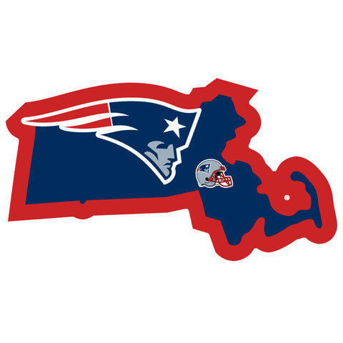 New England Patriots Home State Auto Decal (NFL) Massachusetts Shape