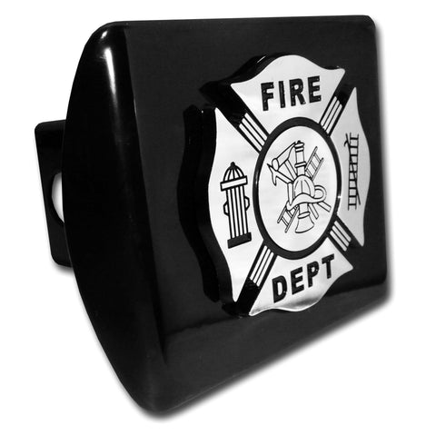 Firefighter Chrome Metal Hitch Cover (Black Maltese Cross) Occupational
