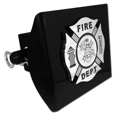 Firefighter Black Plastic Hitch Cover (Chrome & Black) Occupational
