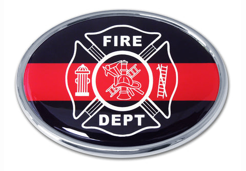 Firefighter Chrome Metal Auto Emblem (Oval Thin Red Line) Occupational
