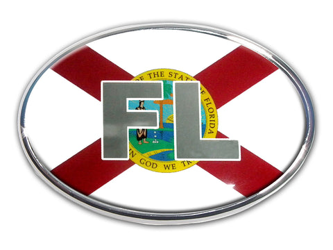 Florida State Flag Chrome Auto Emblem (Oval)