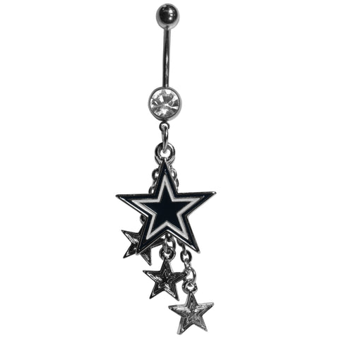 Dallas Cowboys Navel Belly Ring with Dangle Charms NFL