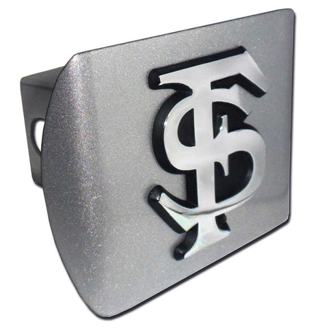 "Florida State Seminoles Brushed Chrome Metal Hitch Cover (""FS"") NCAA"