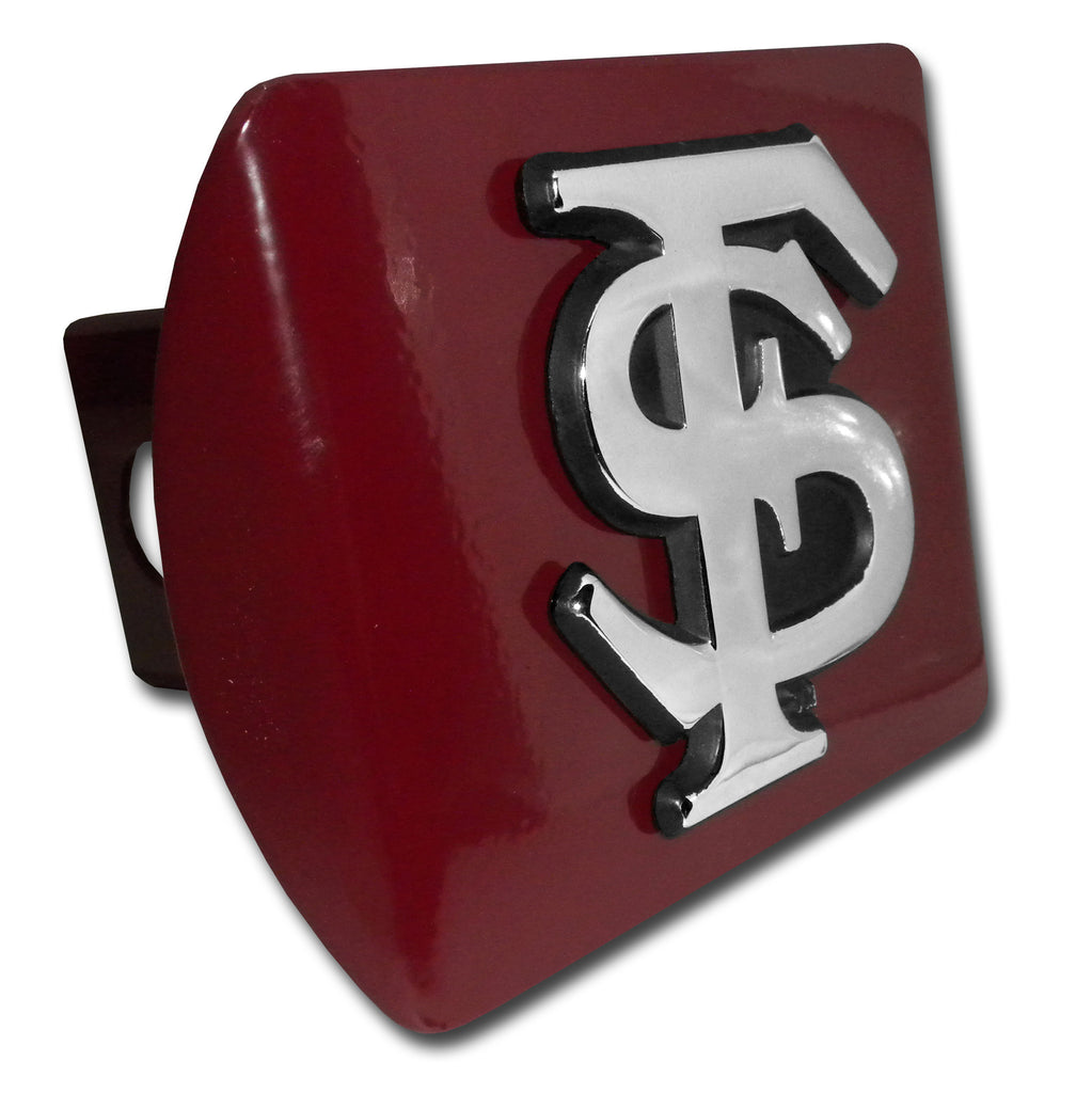 "Florida State Seminoles Chrome Metal Garnet Hitch Cover (""FS"") NCAA"
