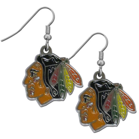 Chicago Blackhawks Dangle Earrings (Chrome) NHL