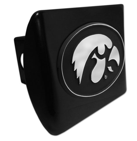 Iowa Hawkeyes Chrome Metal Black Hitch Cover (Tiger Hawk) NCAA