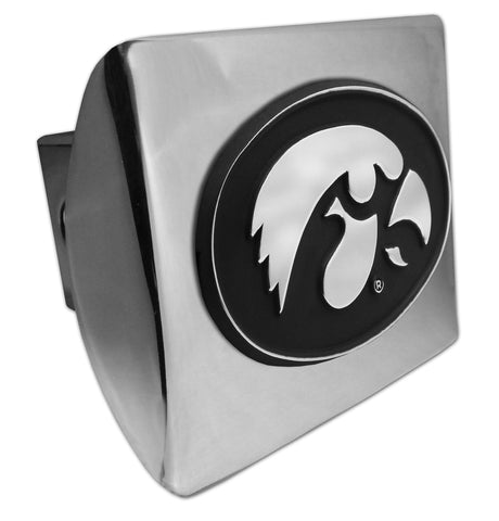 Iowa Hawkeyes Shiny Chrome Metal Hitch Cover (Tiger Hawk) NCAA