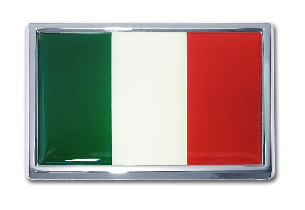 Italy National Flag Chrome Metal Auto Emblem (SUV Size) (Italian)