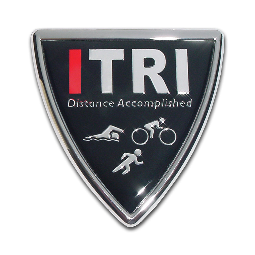 ITRI Distance Accomplished Chrome Auto Emblem (Shield) Triathlon