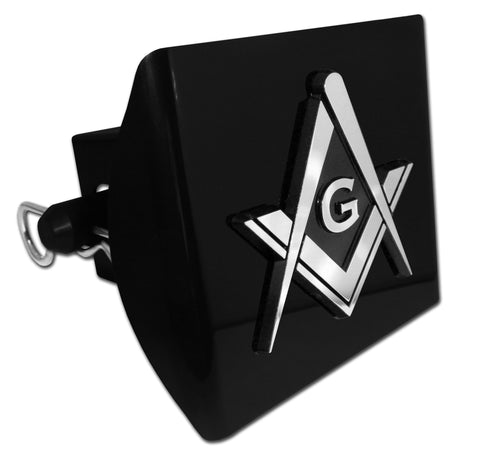 Masonic Black Plastic Hitch Cover (Square Compass)