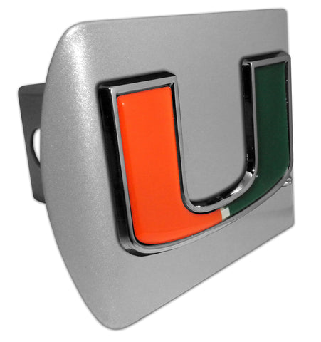 "Miami Hurricanes Brushed Chrome Metal Hitch Cover (""U"" w/ Color) NCAA"