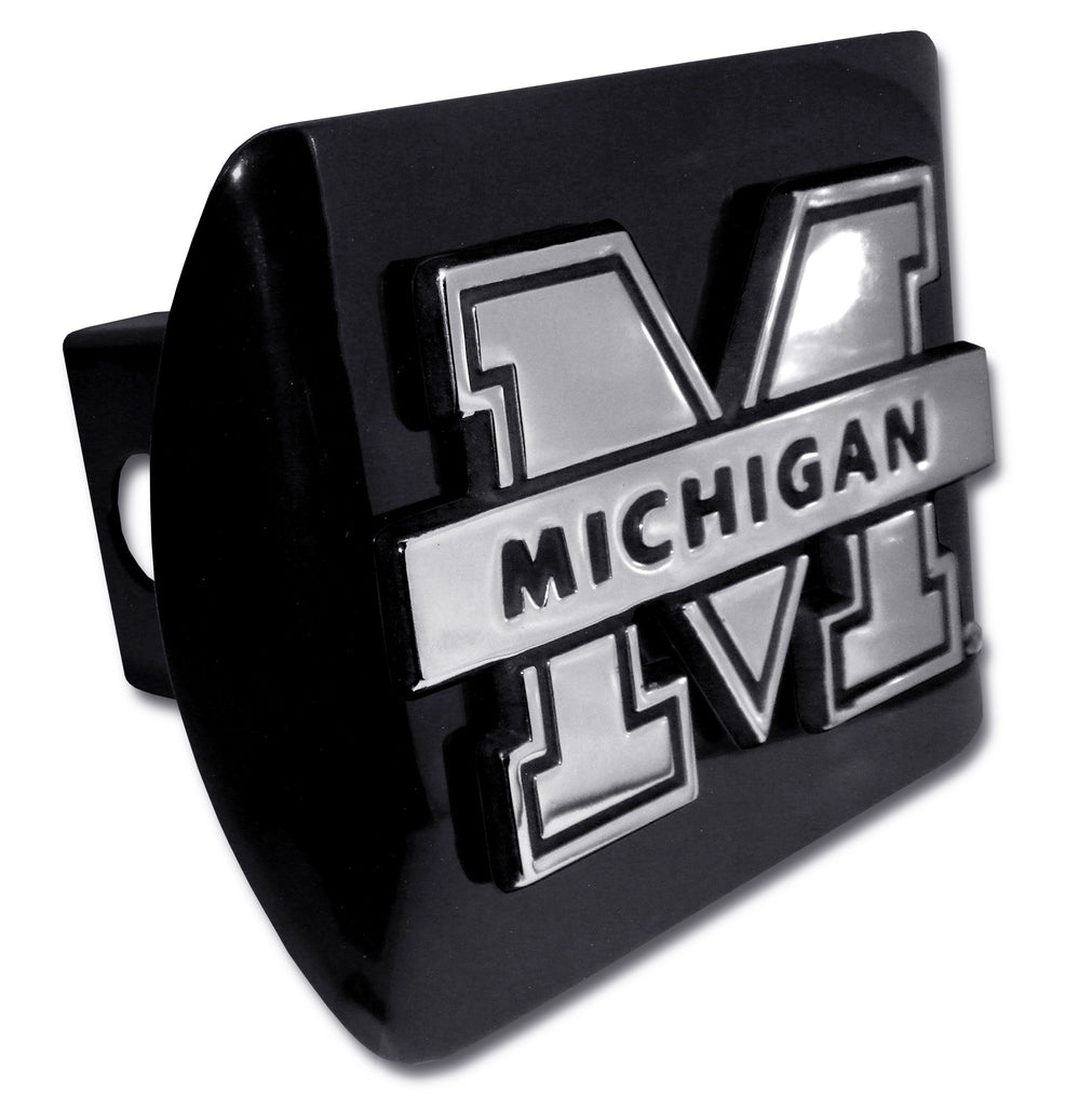 "Michigan Wolverines Chrome Metal Black Hitch Cover (""M"" w/ Banner) NCAA"
