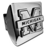"Michigan Wolverines Shiny Chrome Metal Hitch Cover (""M"" w/ Banner) NCAA"