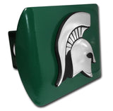 Michigan State Spartans Chrome Metal Green Hitch Cover (Spartan) NCAA