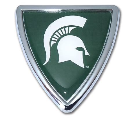 Michigan State Spartans Chrome Metal Auto Emblem (Shield) NCAA