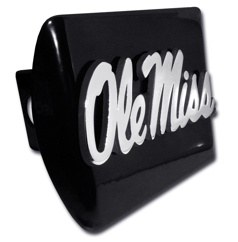 Ole Miss Rebels Chrome Metal Black Hitch Cover (Script) NCAA