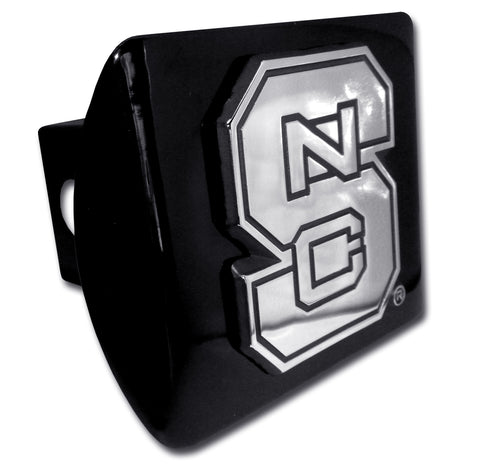 "North Carolina State Wolfpack Chrome Metal Black Hitch Cover (""S"" w/ NC) NCAA"