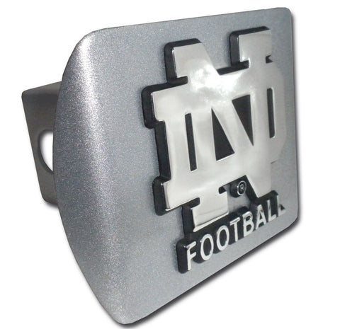 "Notre Dame Fighting Irish Brushed Chrome Metal Hitch Cover (""ND"" Football) NCAA"