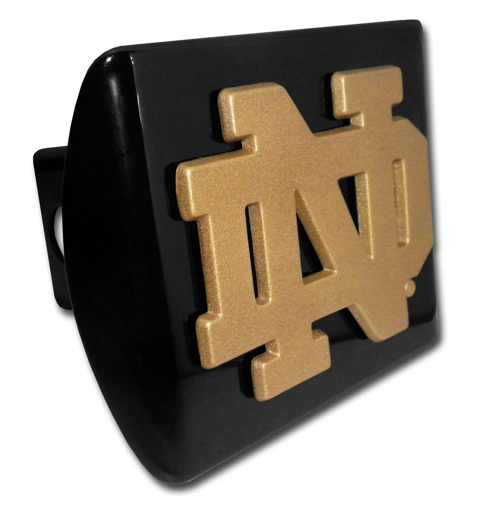 "Notre Dame Fighting Irish Chrome Metal Black Hitch Cover (Gold ""ND"") NCAA"