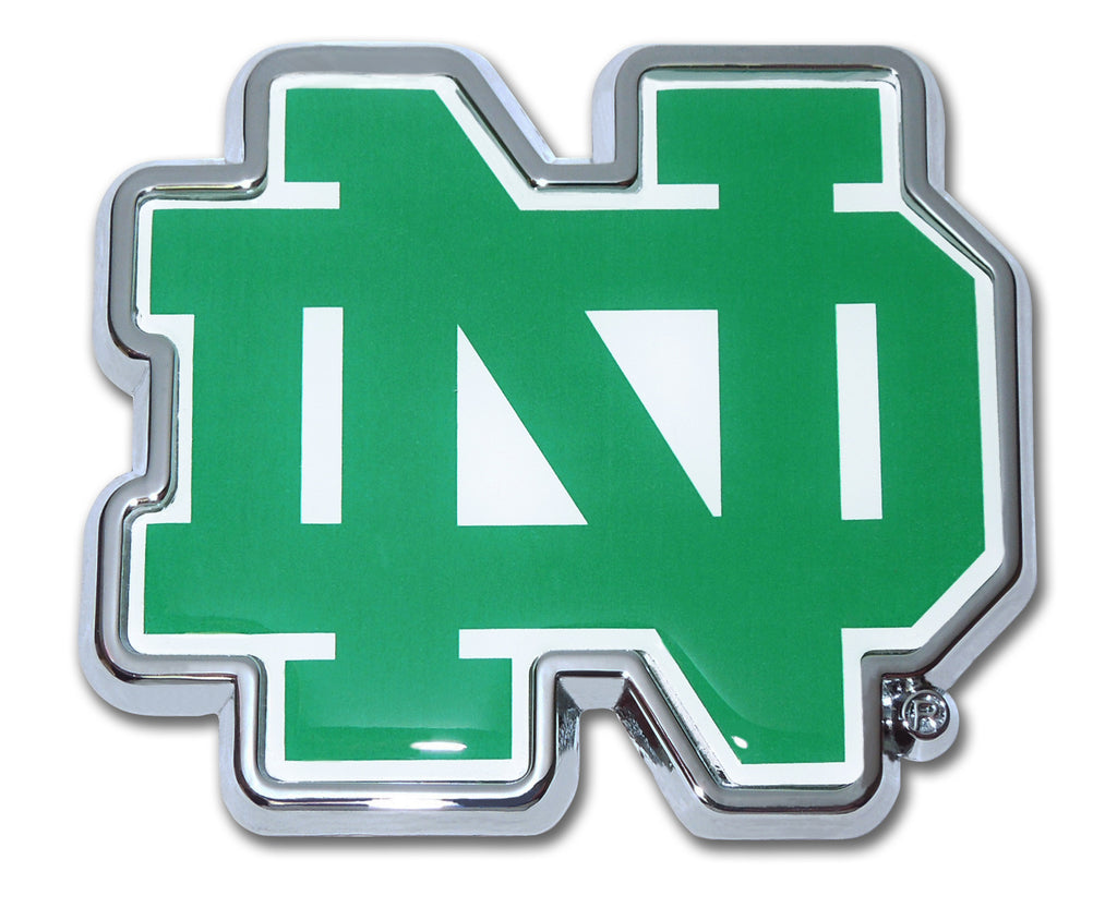 "Notre Dame Fighting Irish Chrome Metal Auto Emblem (""ND"" w/ Color) NCAA"