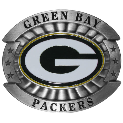"Green Bay Packers Over-sized 4"" Pewter Metal Belt Buckle (NFL)"