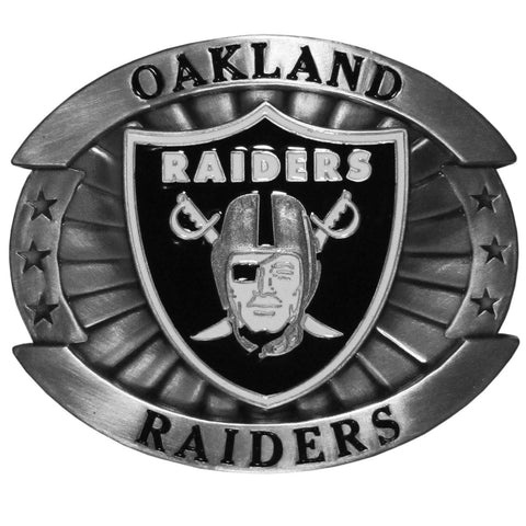 "Oakland Raiders Over-sized 4"" Pewter Metal Belt Buckle (NFL)"