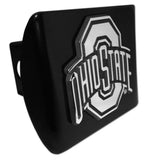 Ohio State Buckeyes Chrome Metal Black Hitch Cover NCAA