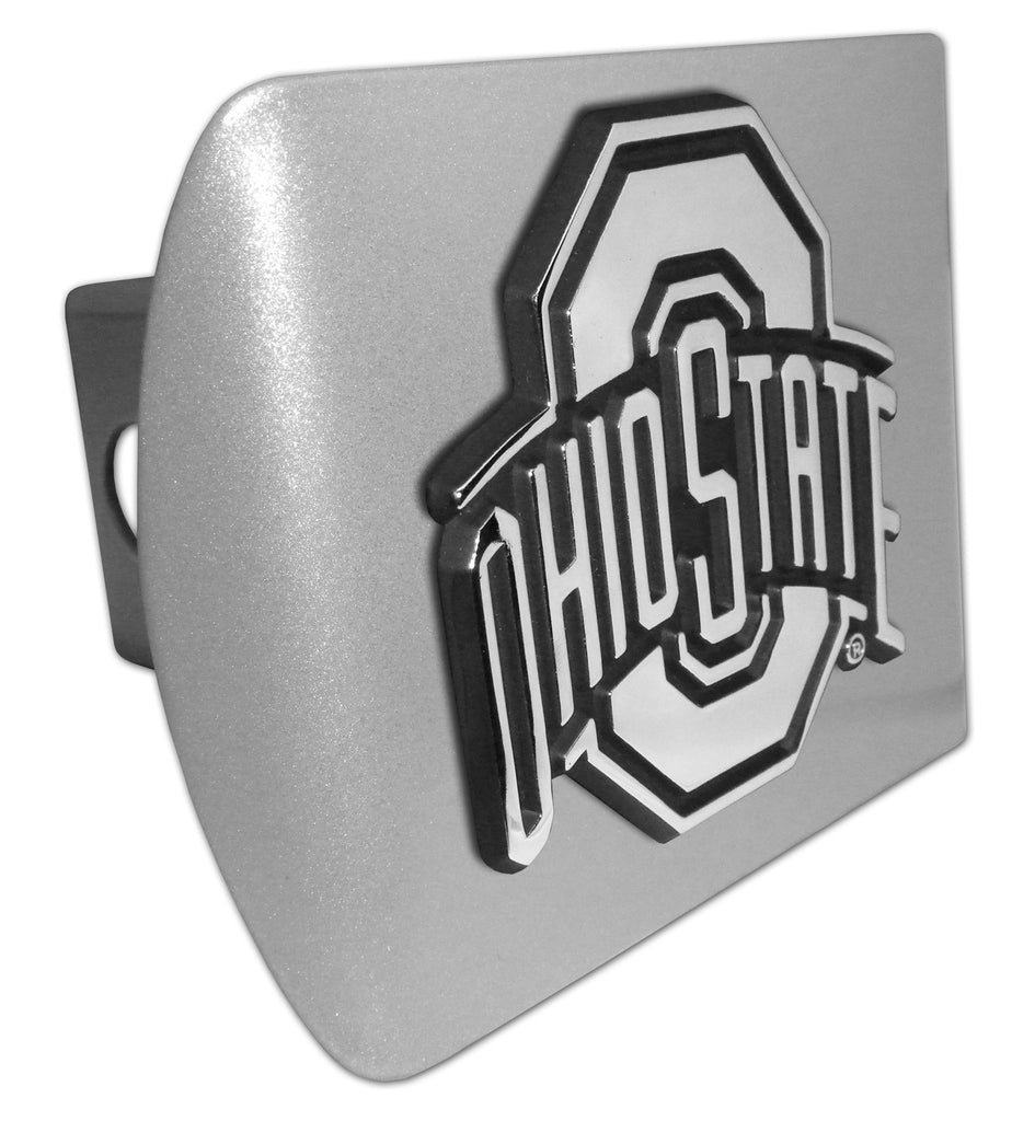 Ohio State Buckeyes Brushed Chrome Metal Hitch Cover NCAA
