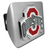 Ohio State Buckeyes Brushed Chrome Metal Hitch Cover (With Color) NCAA