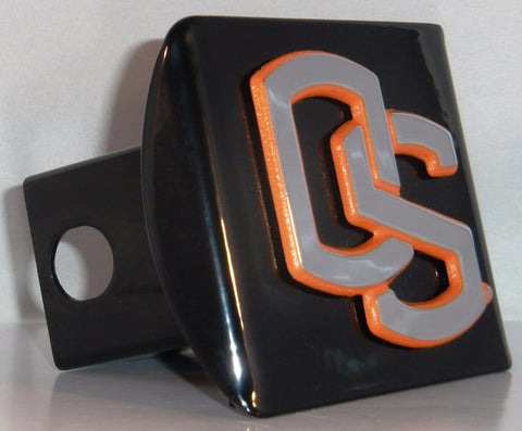 Oregon State Beavers Chrome Metal Black Hitch Cover (Orange Outline) NCAA