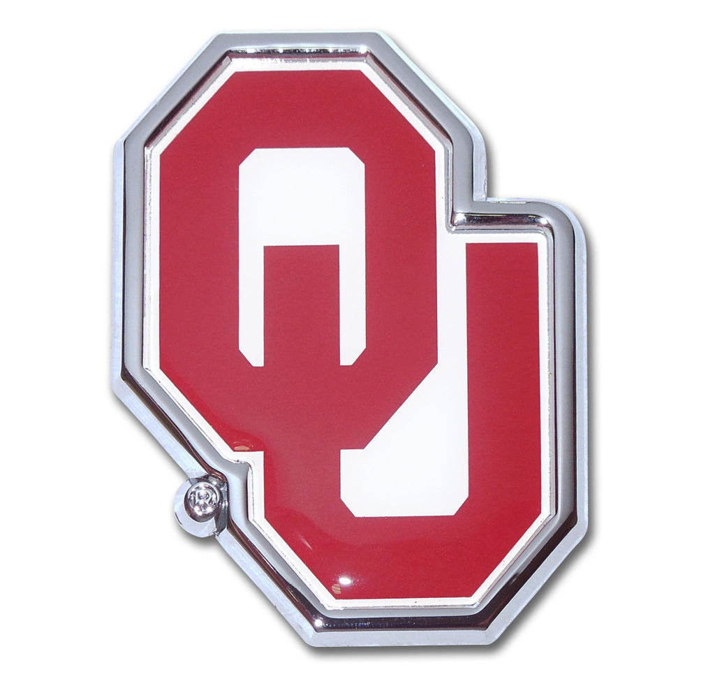"Oklahoma Sooners Chrome Metal Auto Emblem (""OU"" with Color) NCAA"