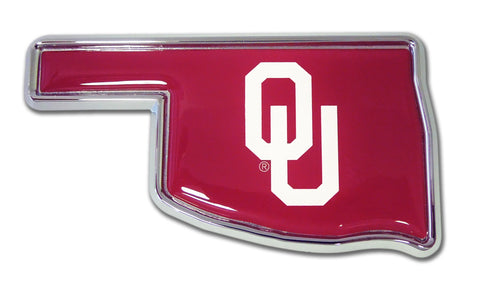 Oklahoma Sooners Chrome Metal Auto Emblem (OK Shape) NCAA