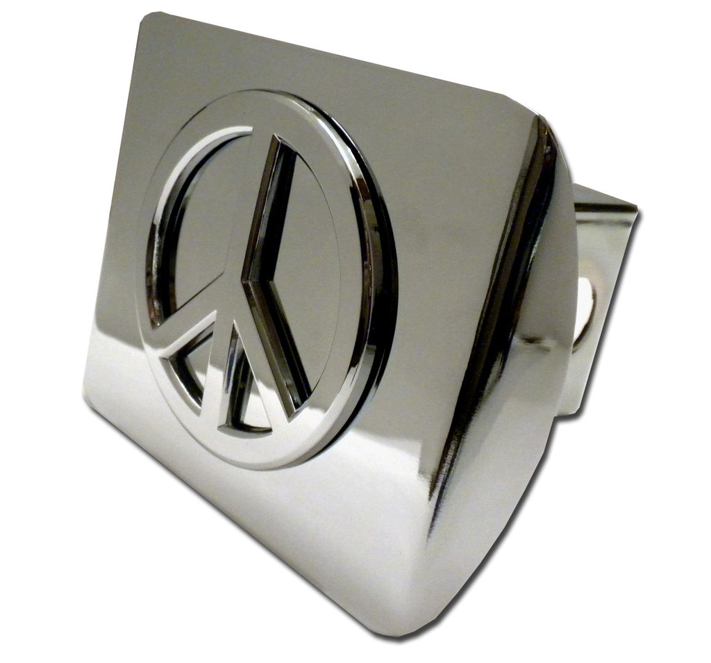 Peace Sign Shiny Chrome Metal Hitch Cover