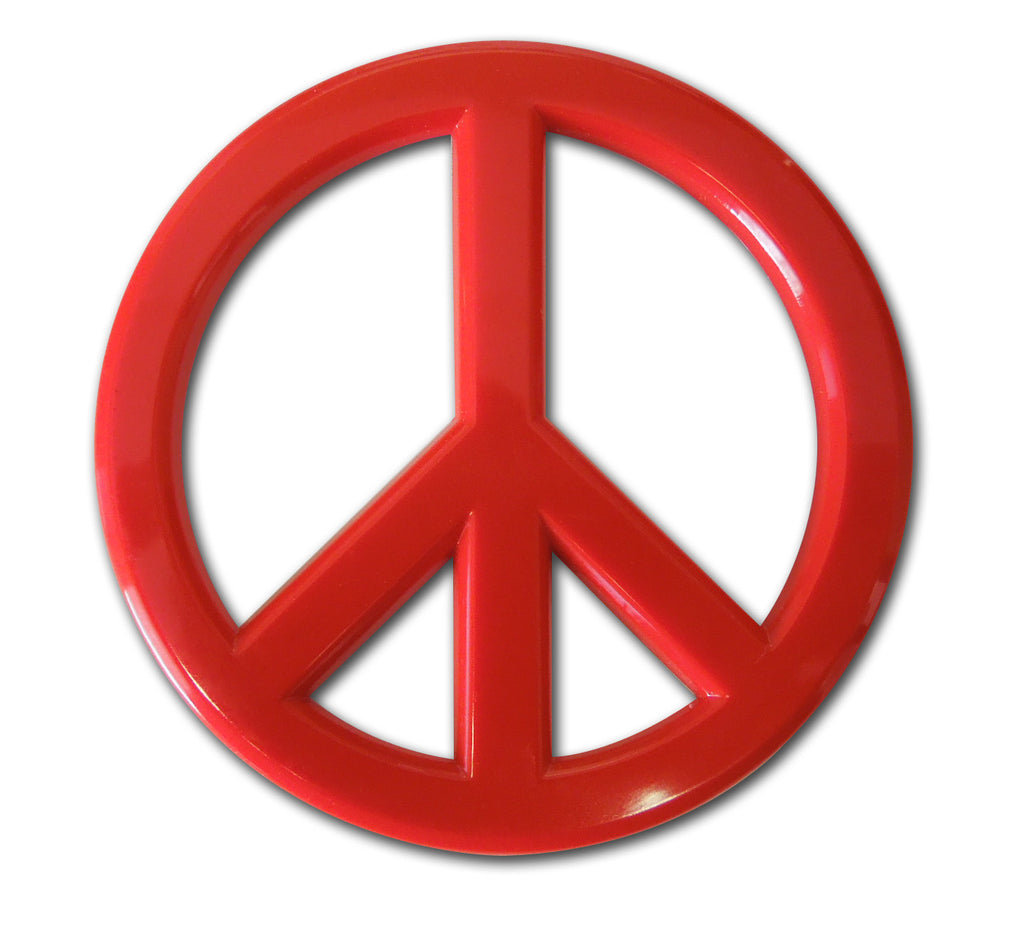 Peace Sign Auto Emblem (Red Acrylic)