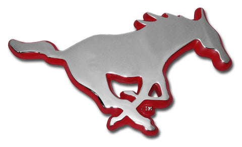 SMU Mustangs Chrome Metal Auto Emblem (Mustang with Red) NCAA