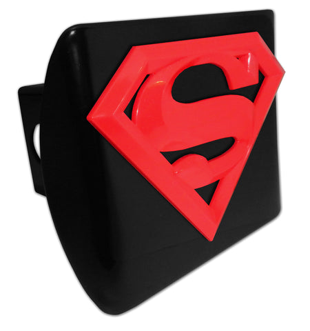 "Superman Black Metal Hitch Cover (Red 3-D Acrylic ""S"") DC Comics"
