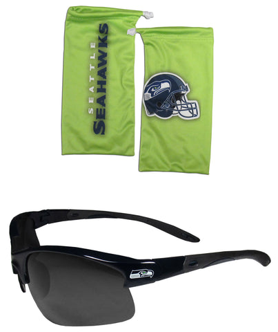 Seattle Seahawks Blade Sunglasses with Microfiber Bag (NFL)