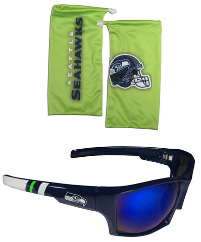 Seattle Seahawks Edge Wrap Sunglasses with Microfiber Bag (NFL)