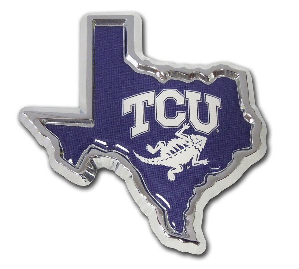 TCU Horned Frogs Chrome Metal Auto Emblem (Texas Shape w/Color) NCAA