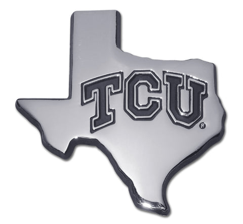 TCU Horned Frogs Chrome Metal Auto Emblem (Texas Shape) NCAA