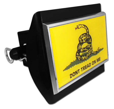 Don't Tread On Me Black Plastic Hitch Cover (Gadsden Flag)