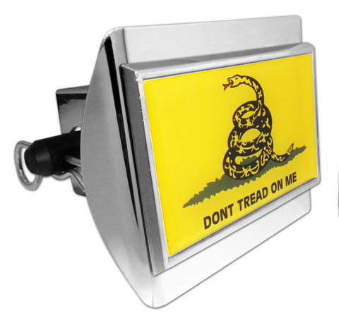 Don't Tread On Me Shiny Chrome Plastic Hitch Cover (Gadsden Flag)
