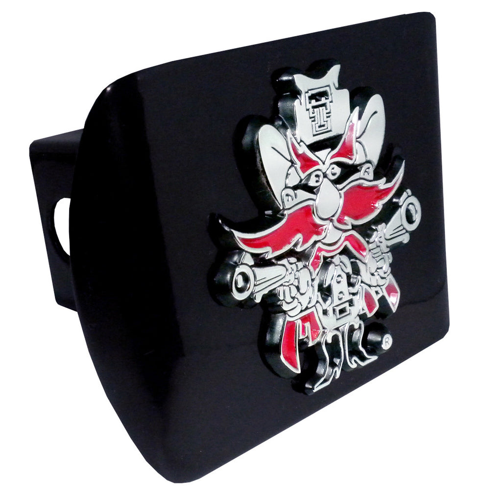 Texas Tech Red Raiders Chrome Metal Black Hitch Cover (Red Raider) NCAA