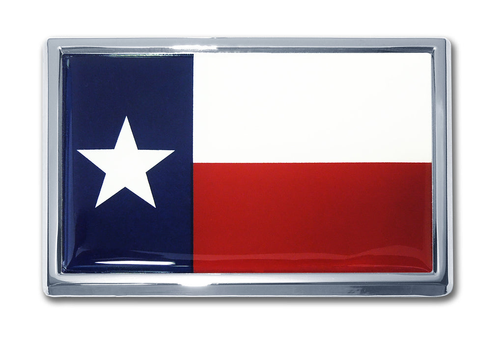 Texas State Flag Chrome Metal Auto Emblem (Rectangle) (Car Size)
