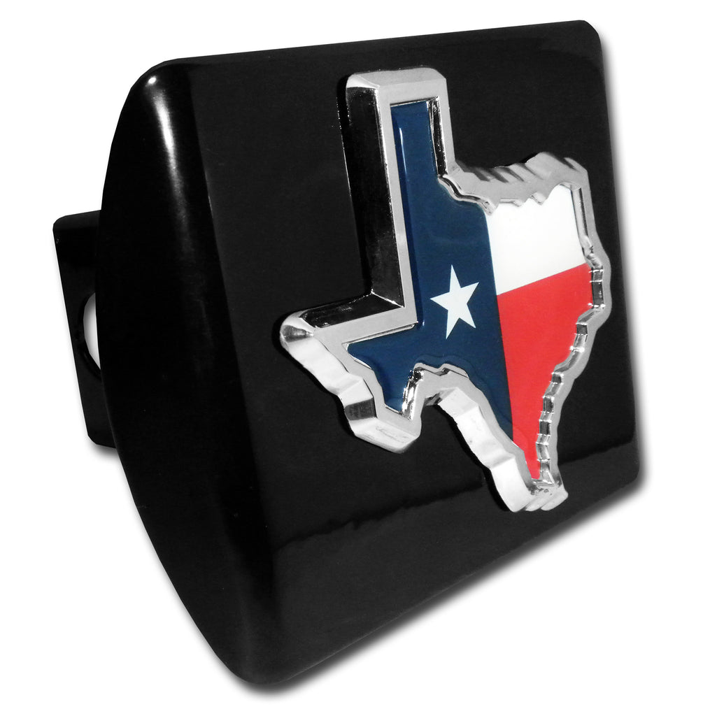 Texas Lone Star State Flag Chrome Metal Black Hitch Cover (TX Shape w/ Color) NCAA