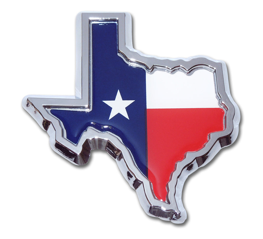 Texas Lone Star State Flag Chrome Metal Auto Emblem (Texas Shape with Color)